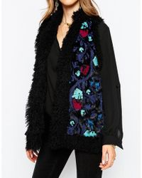 Anna Sui | Paisley Embroidered Gilet In Faux Fur | Lyst