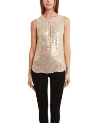 L'Agence Armored Bead Sleeveless Blouse beige - Lyst