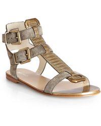 Balmain Khaki Leather and Python Flat Sandal - Lyst