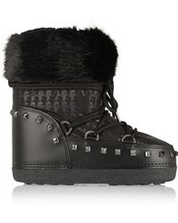 Karl Lagerfeld Faux Shearling-trimmed Shell and Faux Leather Boots - Lyst