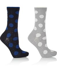 Falke Set Of Two Filet Dot Stretch-Cotton Socks - Lyst