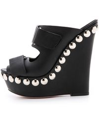 discounts cheap price clearance pre order Giambattista Valli Leather Platform Wedges zuoNA9Na