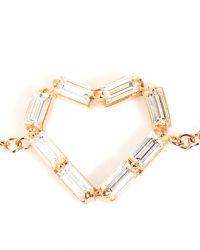 Matchstick - Diamond & Rose-Gold Heart Bracelet - Lyst