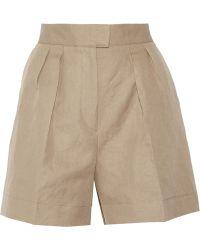Bottega Veneta Pleated Cotton and Linen-blend Shorts - Lyst