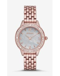 Express - Pave Bezel Analog Bracelet Watch - Rose Gold - Lyst