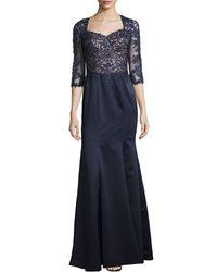 La Femme Beaded Lace Ball Gown - Lyst
