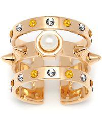 Maria Francesca Pepe - Swarovski Pearl And Swarovski Crystal Encrusted Triple Cuff Band - Lyst