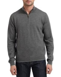 Saks Fifth Avenue Black Label - Merino Wool Contrast Trim Sweater - Lyst