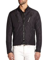 Michael Kors Leather-Trimmed Nylon Moto Jacket - Lyst