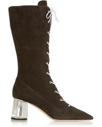 Miu Miu Lace-Up Suede Boots - Lyst