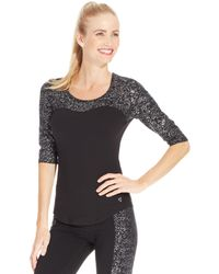 Betsey Johnson Flecked Colorblock Active Top - Lyst