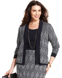Jones New York Collection Plus Size Printed Open-Front Cardigan - Lyst