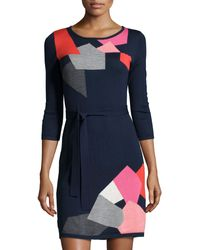 Trina Turk 3/4-Sleeve Belted Sweaterdress multicolor - Lyst