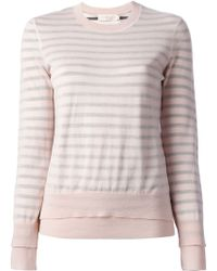 Tory Burch Pink Striped Sweater - Lyst