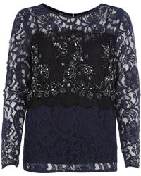 River Island Navy Lace Embellished Top - Lyst