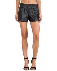 Charles Henry Faux Leather Track Short - Lyst