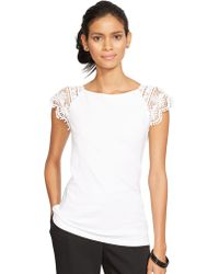 Lauren by Ralph Lauren Petite Lace-Sleeve Cotton Top - Lyst