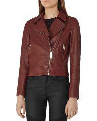 Reiss - Ocean Leather Biker Jacket - Lyst