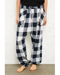 Urban Outfitters - Tartan Lounge Trousers in White - Lyst