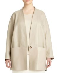 Lafayette 148 New York Zoelle One-Button Linen & Faux-Leather Topper - Lyst
