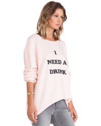 Wildfox Need A Drink Long Sleeve - Lyst