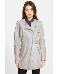 Lamarque | Asymmetric Collarless Leather Coat | Lyst