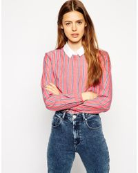 Asos Long Sleeve Shirt In Stripe With Contrast Plain Collar - Lyst