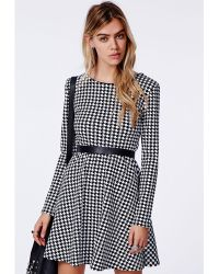 Missguided Bechtolda Dogtooth Print Skater Dress - Lyst