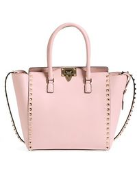 Valentino 'Rockstud' Double Handle Leather Shopper - Lyst