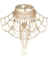 River Island Gold Tone Pearl Art Deco Jewelled Cape - Lyst