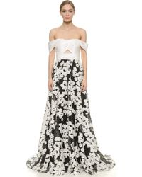 Lela Rose Off Shoulder Gown - Black/Ivory - Lyst