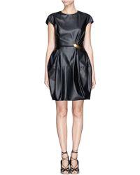 Lanvin Pinned Asymmetric Ruche Faux Leather Dress - Lyst