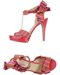 Sophie Theallet - High-Heel Textile-Printed Sandals - Lyst