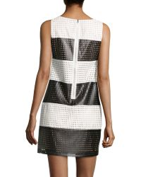 Muse - Striped Perforated Faux-leather Dress - Lyst