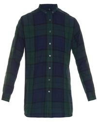 AMI Check-Print Cotton Shirt - Lyst