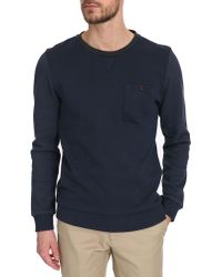 Selected Navy Blue Crew-Neck Sweatshirt With Detailed Pockets - Lyst