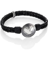 King Baby Studio Braided Leather & Quarter Dollar Bracelet black - Lyst
