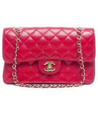 Chanel Preowned Red Caviar Small Double Flap Bag - Lyst