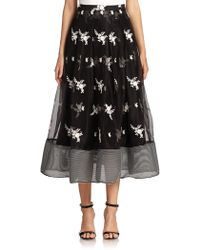 Sachin & Babi Noir Embroidered Silk Tulle Skirt - Lyst