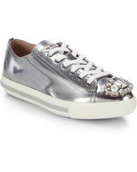 Miu Miu Swarovski Crystal Cap-toe Patent Leather Sneakers - Lyst