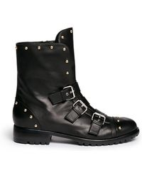 Giuseppe Zanotti Morrison' Stud Buckle Leather Boots black - Lyst
