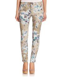 Jen7 Printed Stretch Sateen Skinny Jeans - Lyst