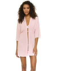 Cheek Frills - Carolyn Murphy Block Robe - Lyst