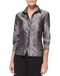 Carolina Herrera Long Sleeve Button Up Blouse - Lyst