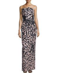 J. Mendel | Strapless Feline-print Column Gown | Lyst