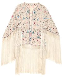 Talitha - Zara Fringed Embroidered Wrap - Lyst