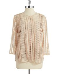 Alex Evenings Sequin And Lace Cardigan Set - Lyst
