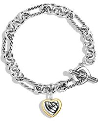 David Yurman Cable Heart Charm Bracelet with Gold - Lyst