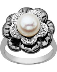 Lord & Taylor - Pearl And Diamond-accented Ring In Sterling Silver - Lyst