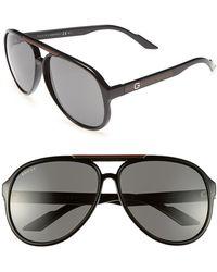 Gucci 'Gg1627S-M' 59Mm Sunglasses - Shiny Black - Lyst